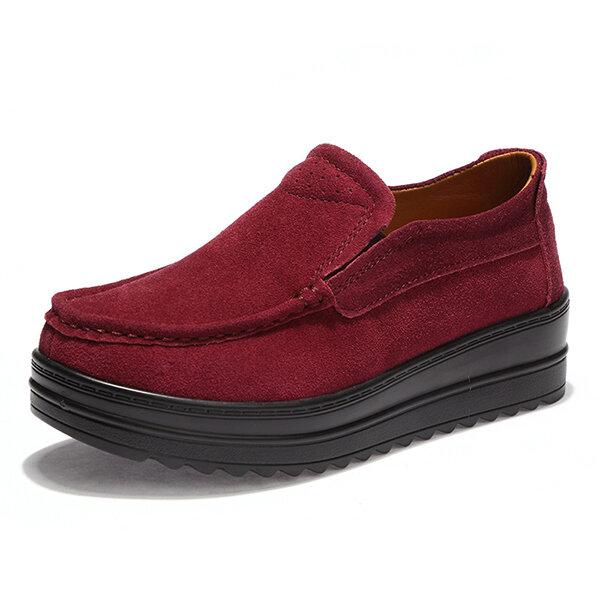 Women Wedge Heel Platforms Casual Suede Round Toe Shoes