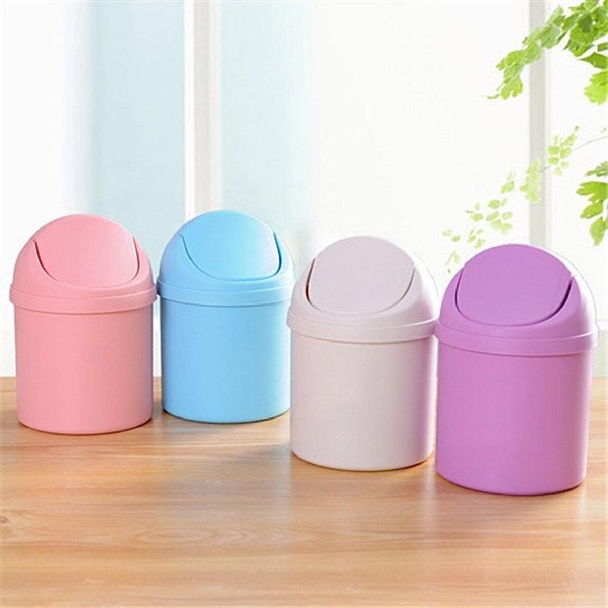 Mini Waste Bin Desktop Garbage Basket Home Table Trash Can Dustbin Container