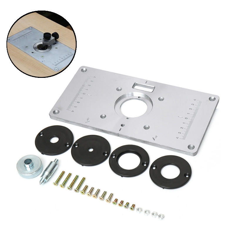 Router Aluminum Table Insert Plate w// 4 Rings Screws For Woodworking Benches