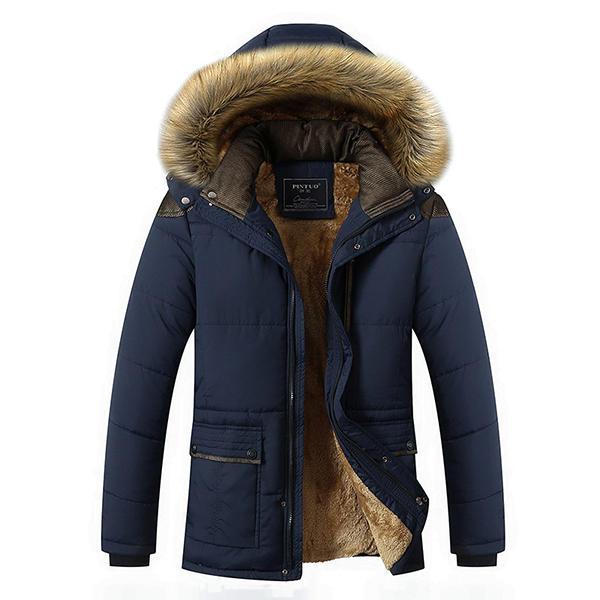 Mens Thick Fleece Warm Hooded Fur Winter Outwear Jacket Outdoor Casual Shoulder Splices Coat