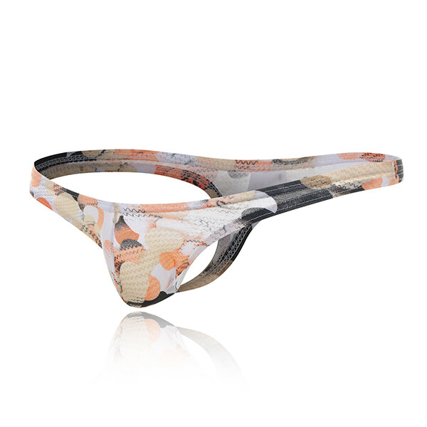Mens Low Rise Printing U Convex Pouch Breathable Comfortable Casual Strip Thong Attractive Underwear