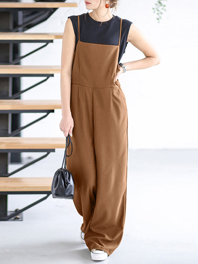 Women Solid Color Plain Cami Strappy Casual Jumpsuits