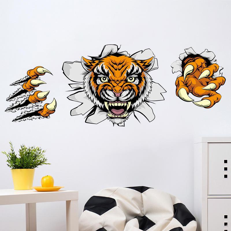 Creative Company Decoraciones de oficina Etiquetas de pared Domineering 3D Tiger Broken Wall 30 * 90CM