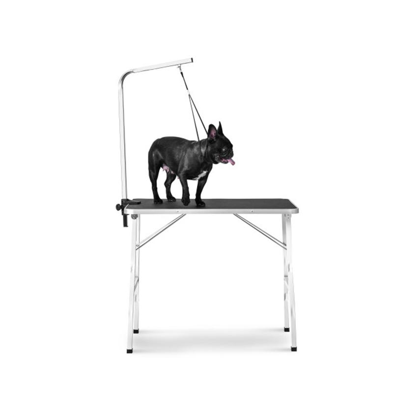 "Small Size 30"" Steel Legs Foldable Nylon Clamp Adjustable Arm Rubber Mat Pet Grooming Folding Table"