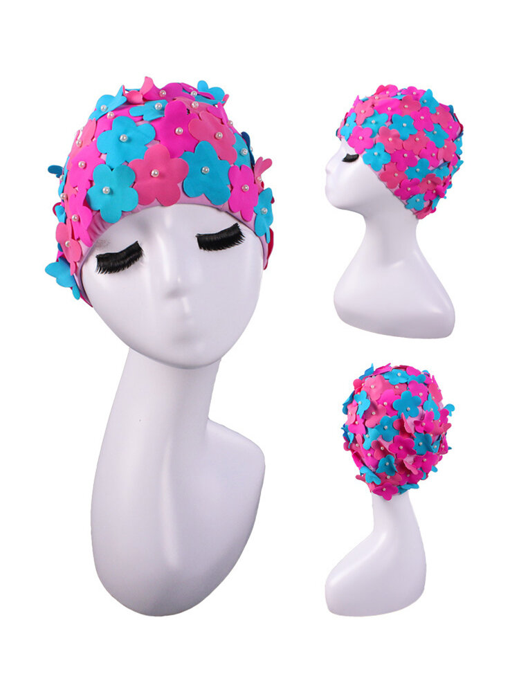 Hand-sewn Pearl Three-dimensional Color-mixing Petals Women Swimming Spa Hats