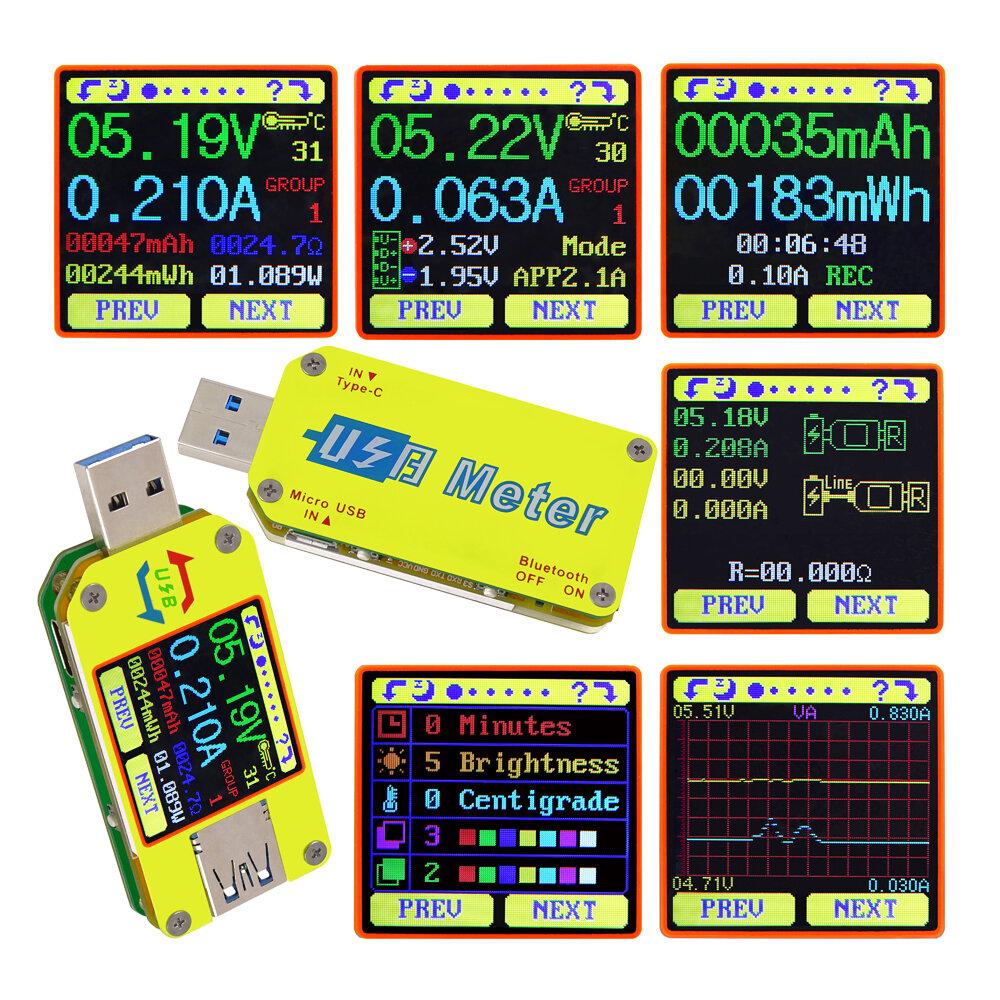 RUIDENG UM34C For APP USB 3.0 Type-C DC Voltmeter Ammeter Volt