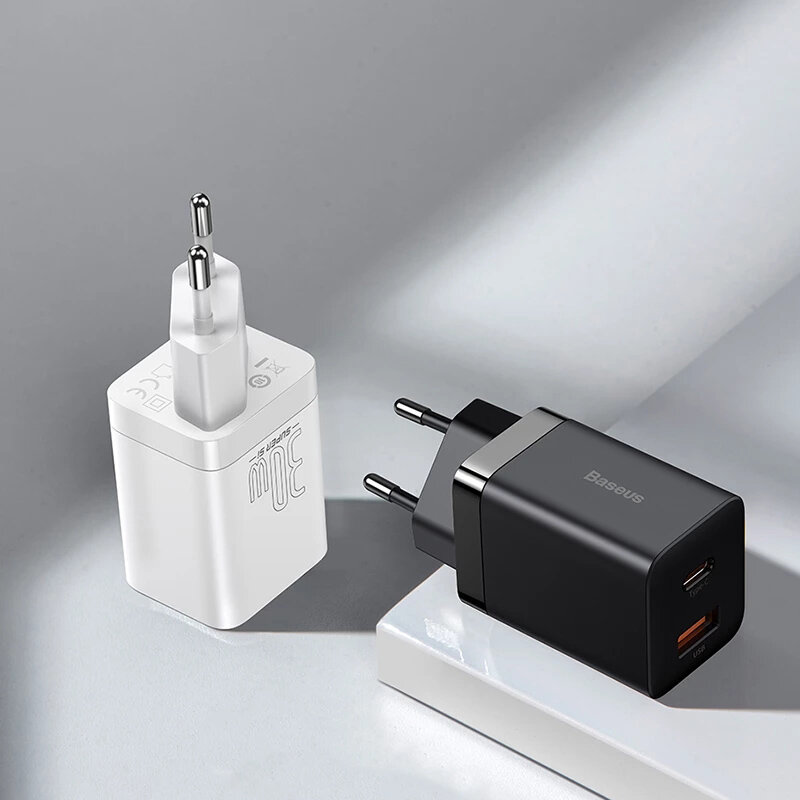 Baseus Super Si Pro 30W PD QC3.0 Wall Charger Adapter EU/US Plug For iPhone 12 Pro Max For Samsung Galaxy S21 Note S20 u