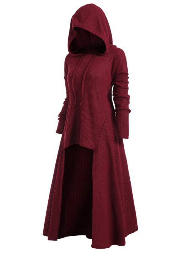 Plus Size S-5XL Irregular Hem Solid Color Hooded Sweatshirt Dress