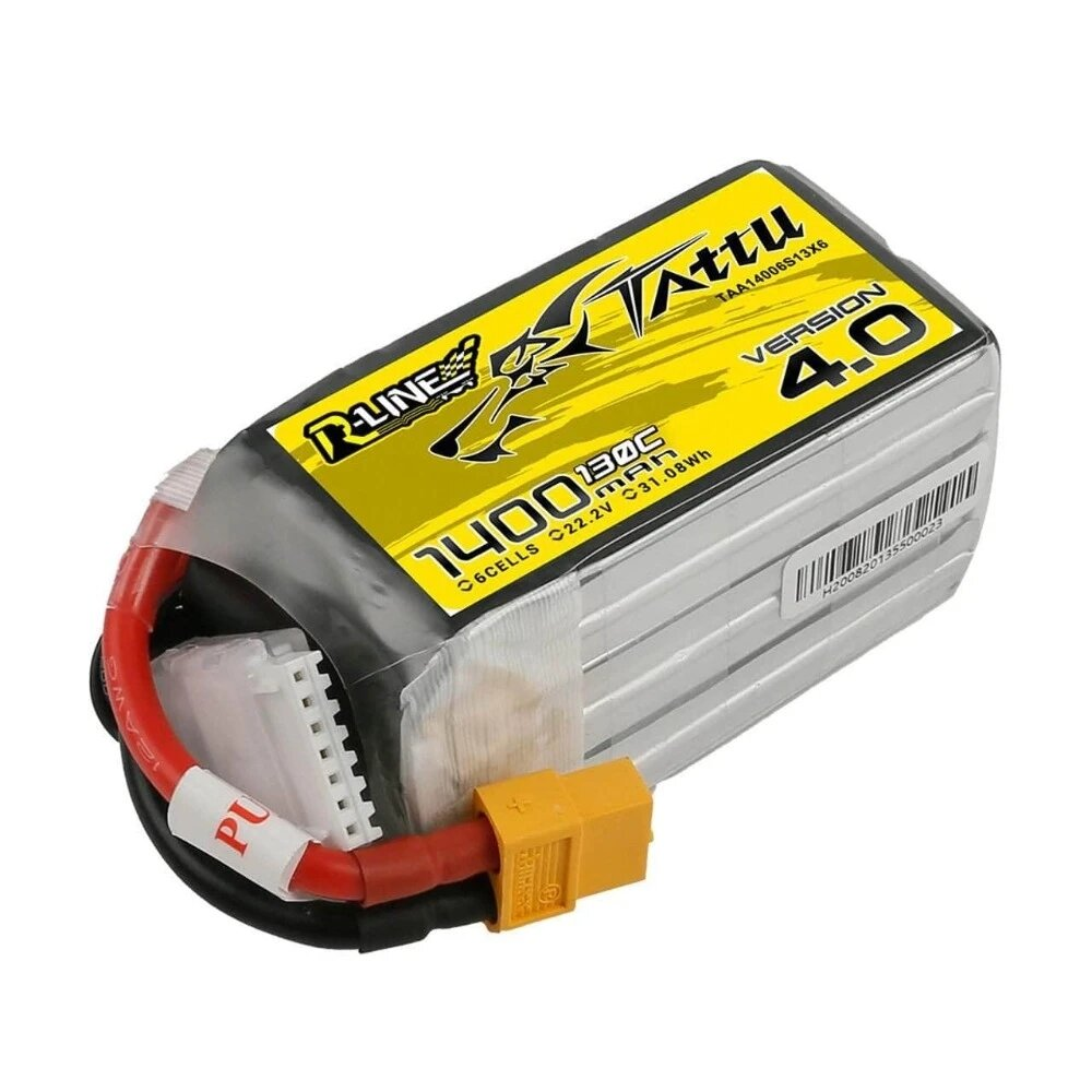 TATTU R-Line Version 4.0 V4 22.2V 1400mAh 130C 6S LiPo Battery XT60 Plug for RC Drone