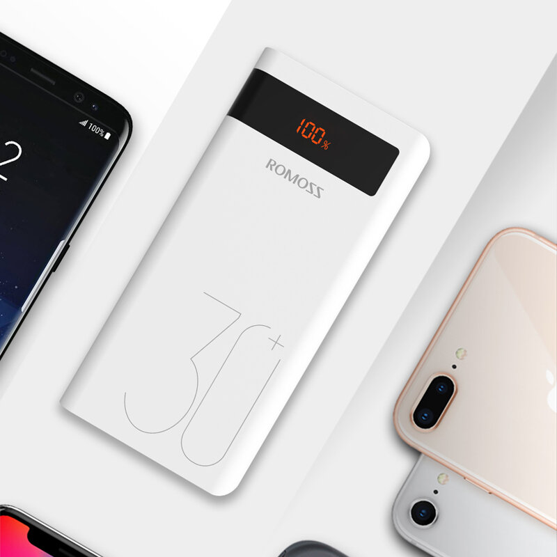 ROMOSS 30000mAh Power Bank PD Quick Charge PD 3.0 Fast Charging For iPhone for iPhone XS 11Pro Mi10 Note 9S