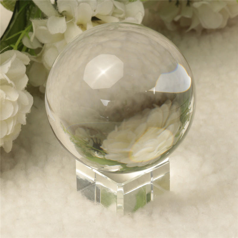 Quartz Pure Clear Magic Crystal Glass Healing Ball Speculum Slickball Sphere 60mm With Stand