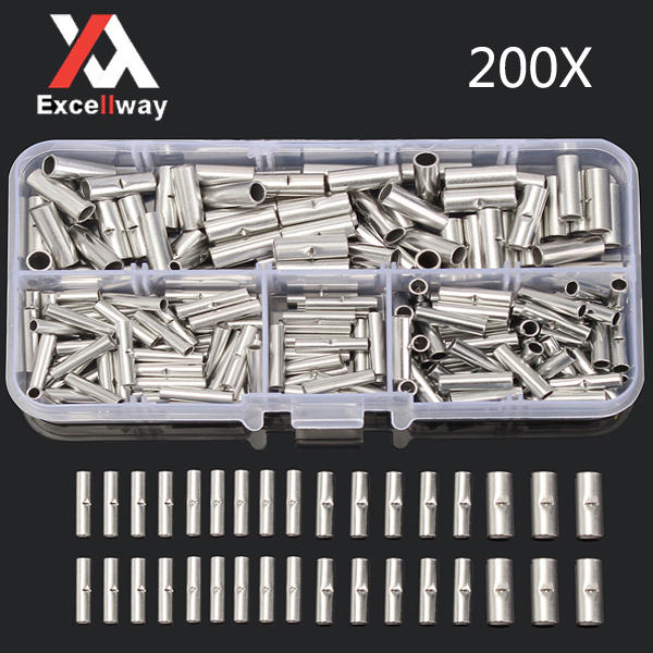 Excellway® TC20 200Pcs Copper Butt Splice Connector 22-10AWG Tinned Crimp Terminal Kit