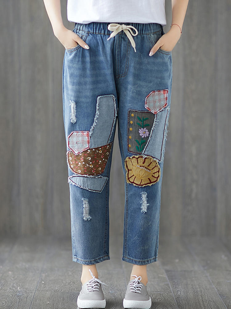 Women Casual Patchwork Elastic Waist Denim Jeans with Pockets