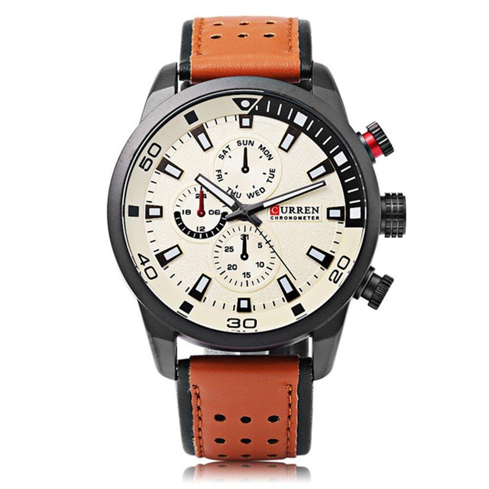 CURREN 8250 Reloj De Cuarzo De Cuero De Lujo de Moda Casual para Hombres
