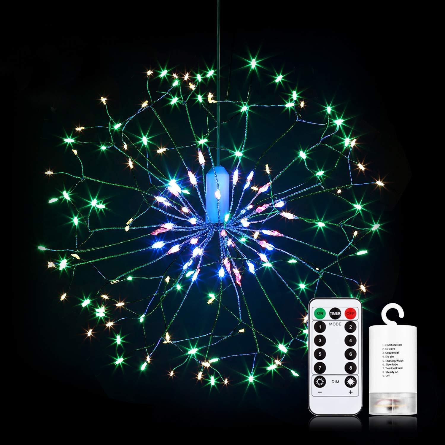 Battery Supply 150/180 LED 8 Modes Colorful Firework Starbust Fairy String Light for Home Decor