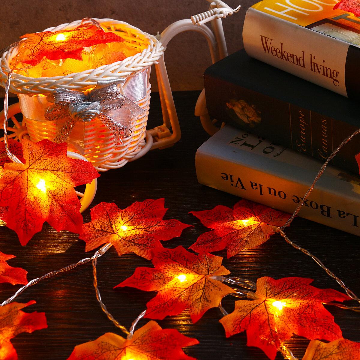 3M 30 LED Giáng sinh Ánh sáng Mùa thu Maple Fairy Chuỗi Ánh sáng Mùa thu Lá Vòng hoa Xmas Xmas Trang trí Quà tặng