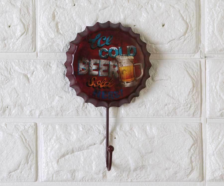 1pc 10*16*1.5CM Hot Sale Retro Beer Bottle Cap Wall Hanging Hook Creative Personalized Soft Iron Decors Iron Door Back Clothes Hooks Creative Clothing Shop Decorations