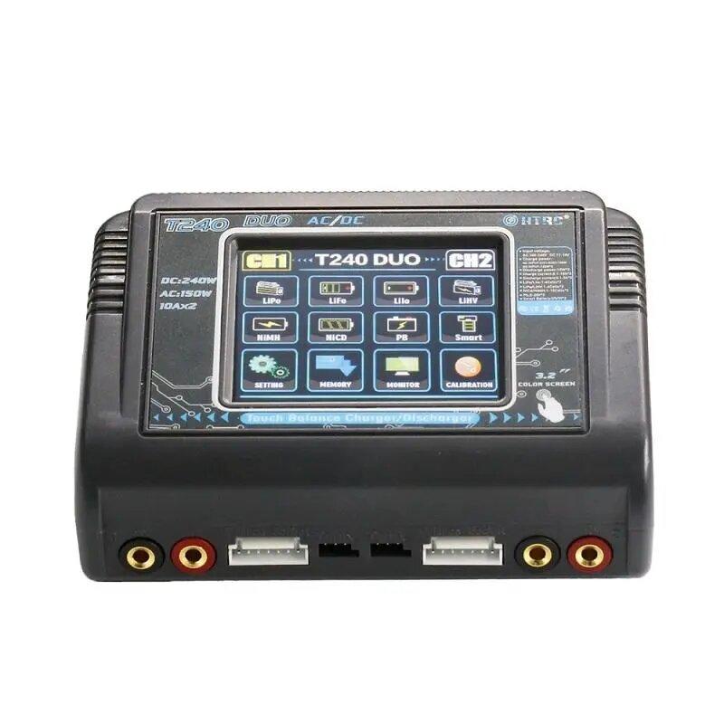 HTRC T240 DUO AC 150W DC 240W 10A Сенсорный экран с двумя каналами Батарея Разрядник зарядного устройства баланса