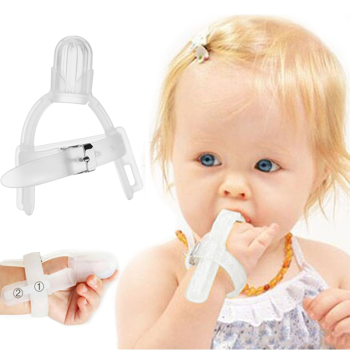 Thumbsucking Silicone Thumb Sucking Stop Finger Guard Protector For 1-5 years Baby Kids