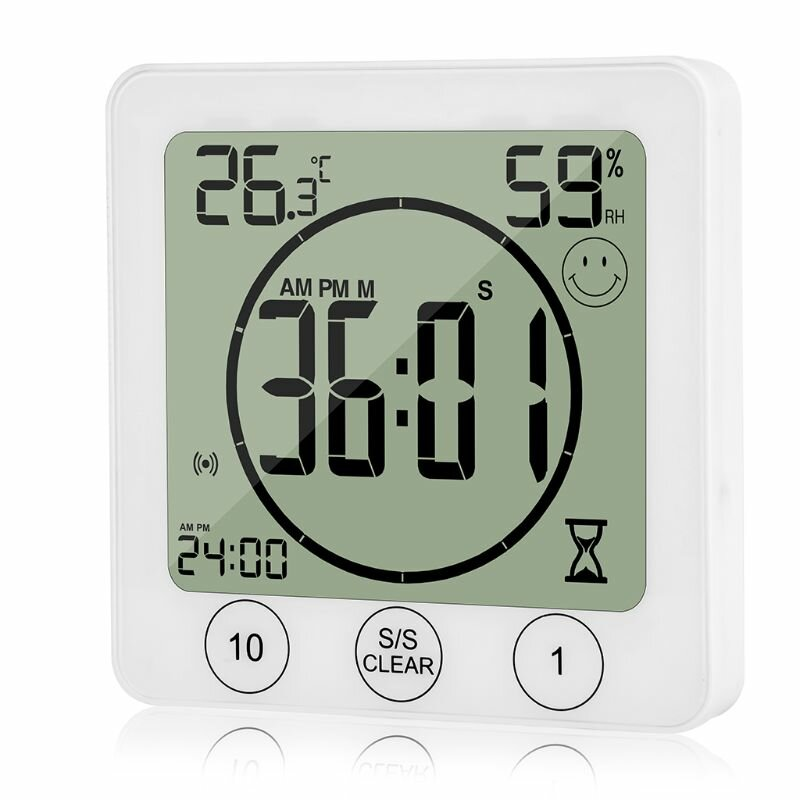 Small LCD Wall Clock Timer Waterproof Temperature And Humidity Meter Indoor Kitchen Bathroom
