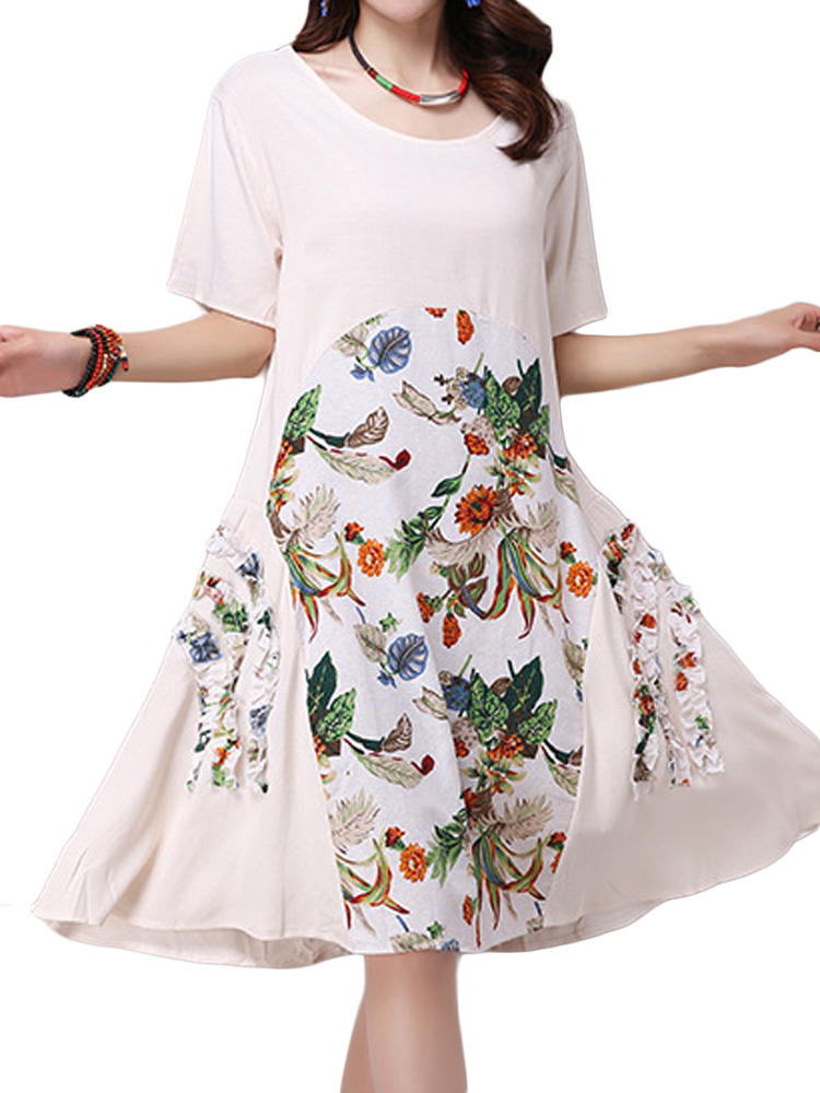 Kwiatowe sukienki damskie w stylu vintage z nadrukiem w stylu patchwork
