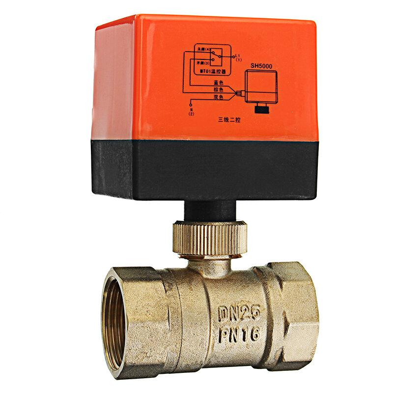 """TMOK TK260 1/2"""" 3/4"""" 1"""" 1-1/4"""" Motorized Electric Brass Ball Valves 3 Wire AC 220V Full Port Valve"""
