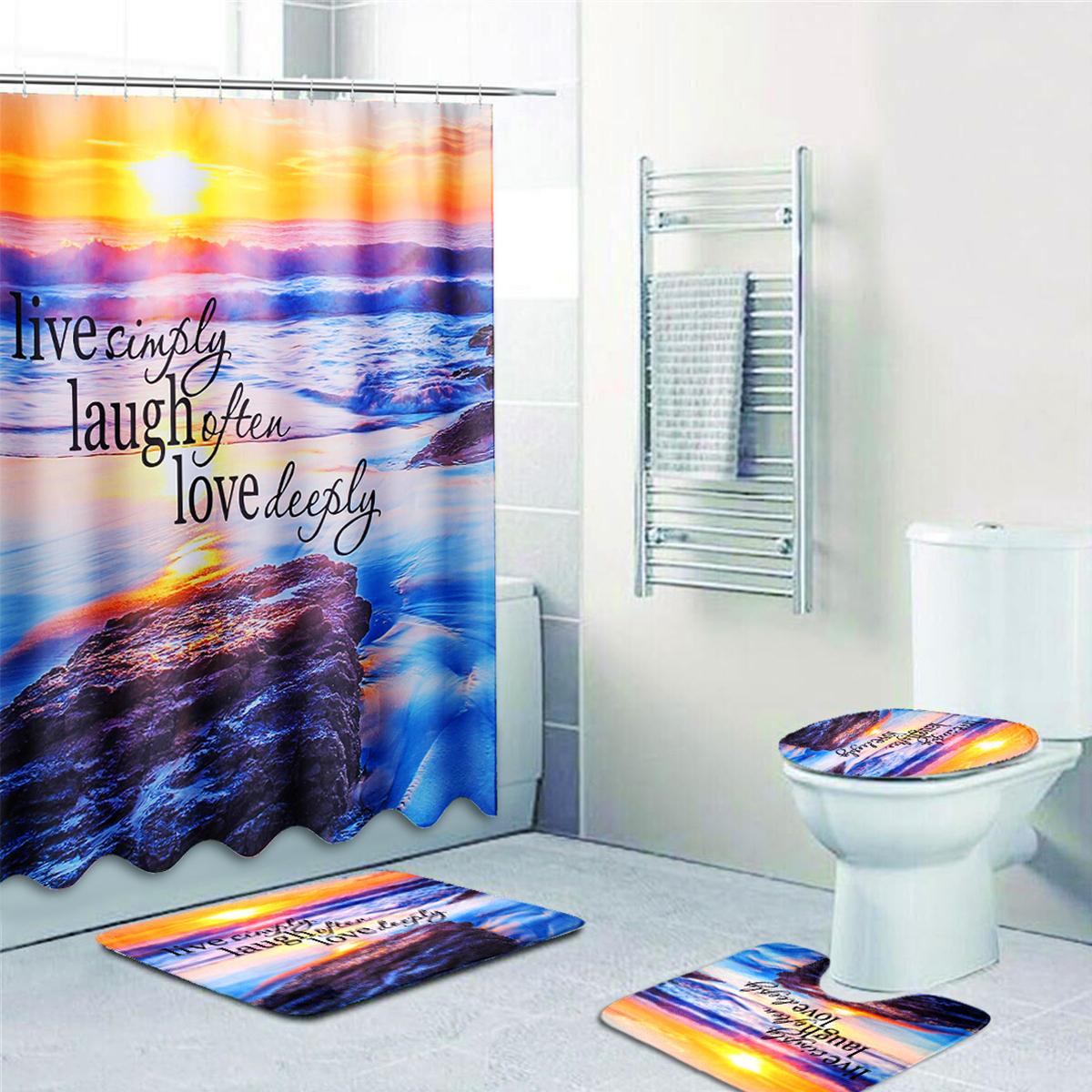 Sandy Beach Waterproof Bathroom Shower Curtain Toilet Cover Mat