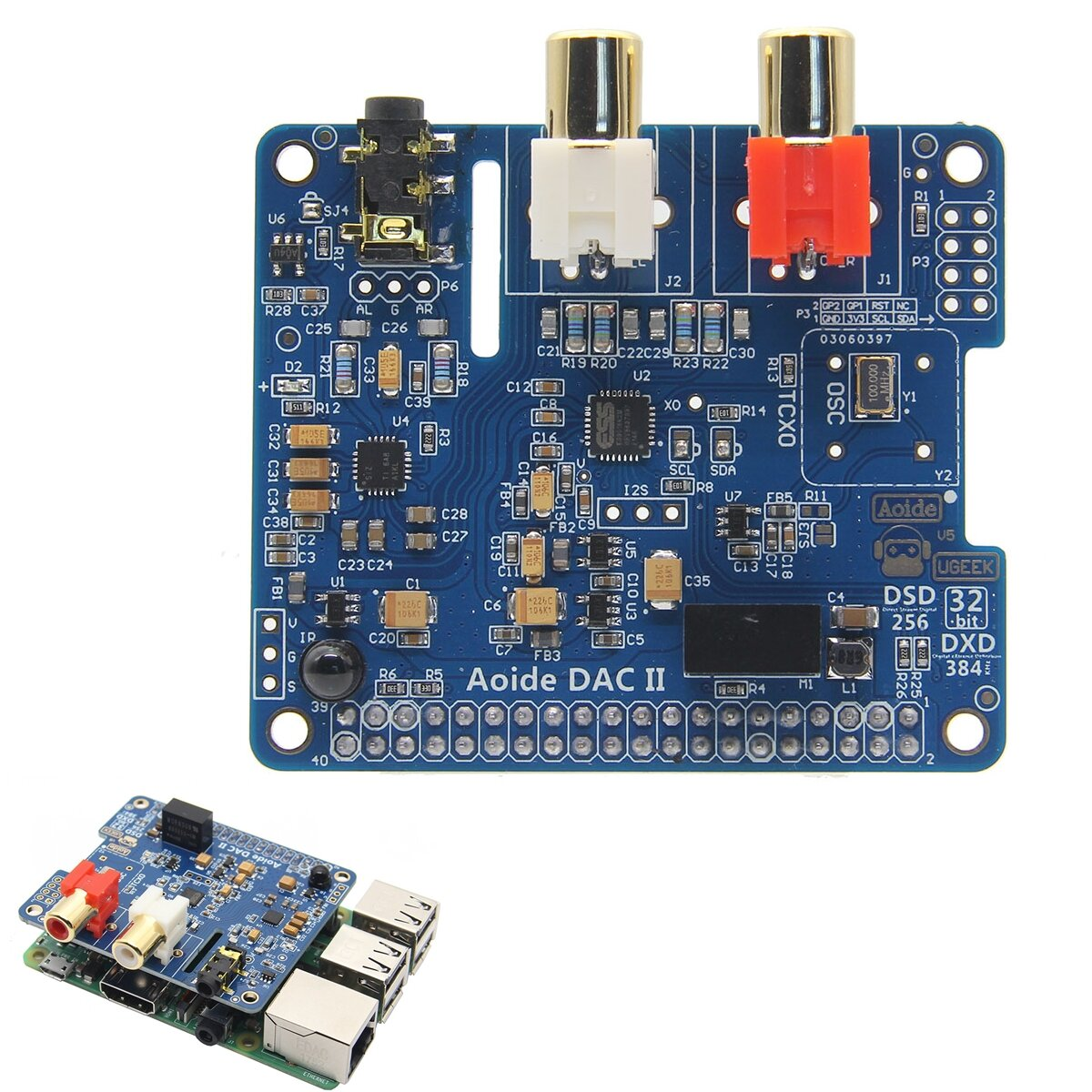 DAC II Hifi Sound Card 384-kHz/32-bit DSD/APE/FLAC/WAV Music Player Audio  Expansion Board ES9018K2M For Raspberry Pi 3B+/3B/2B