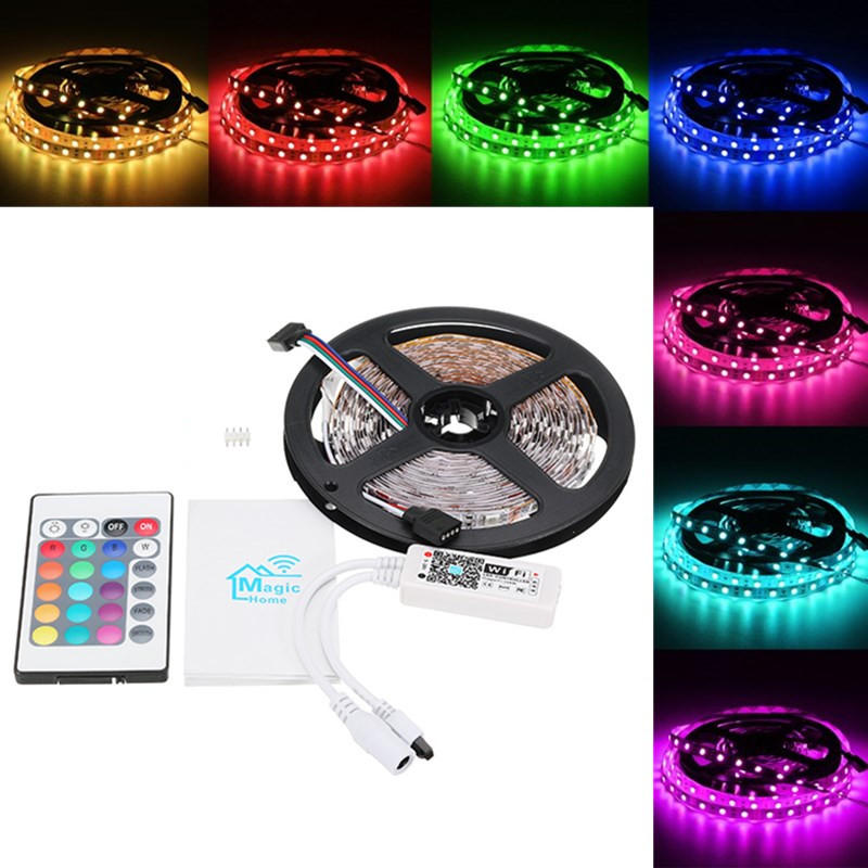 5M 60W SMD5050 Non-waterproof RGB LED Strip Light + WiFi Controller Works With Alexa DC12V