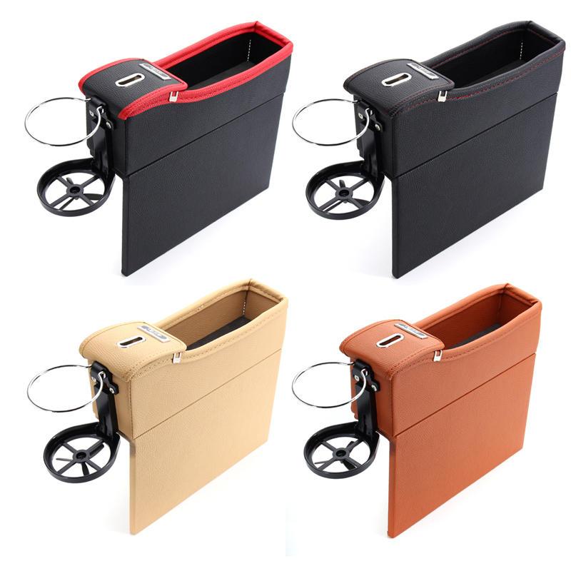 1 Pcs ब्लैक पु कार ऑटो सीट स्टोरेज बॉक्स कैचर गैप फिलर सिक्का कलेक्टर कप धारक