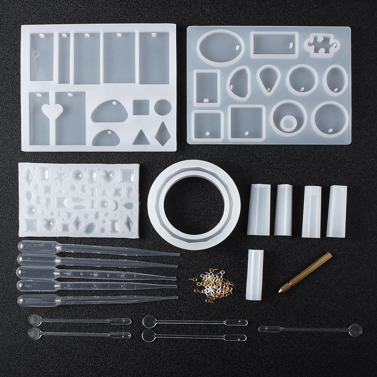 68 piezas DIY molde de fundición de resina geométrica Silicona artesanía haciendo moldes kit de moldes de joyería