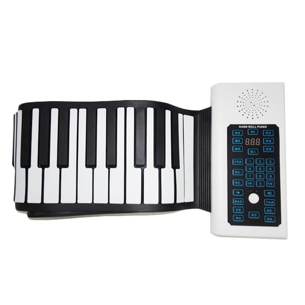 BR-A-88 Keys Rechargeable Keyboard Roll Up Piano With Microphone Speaker  for Beginner