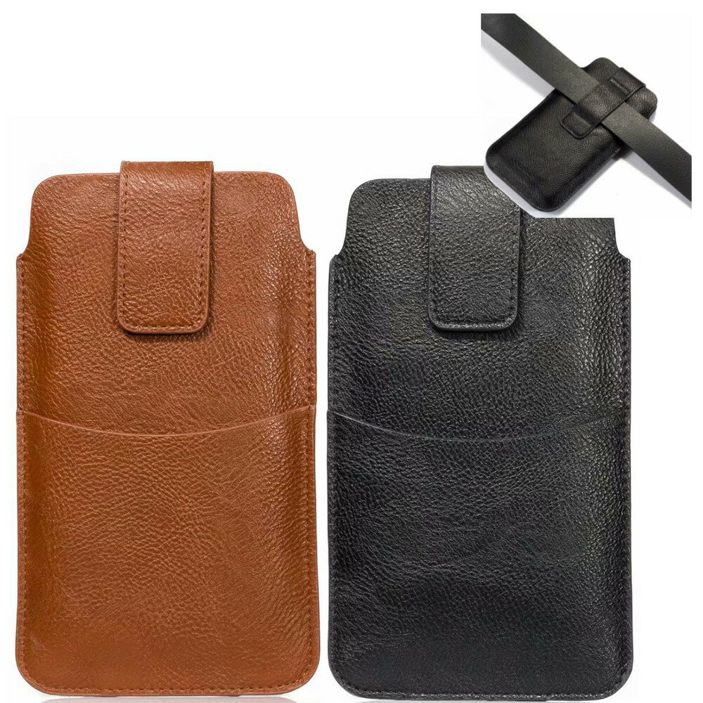 Bakeey 6.4/5.5/5.2 inch Bussiness PU Leather Mobile Phone Money Coin Men Phone Bag Belt Waist Bag Sidebag Pack with Card Slot