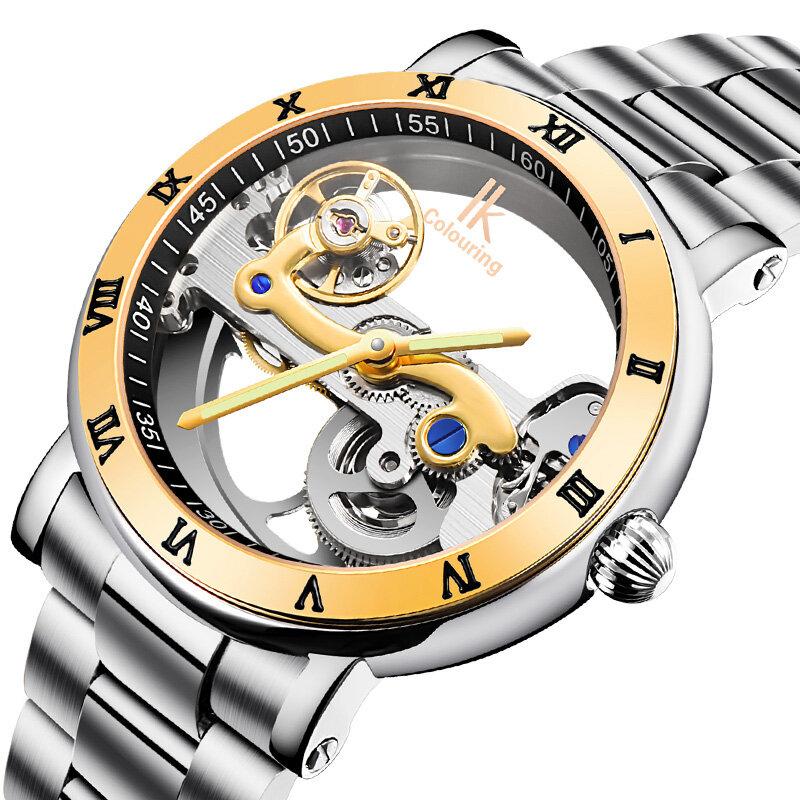 IK COLOURING 98399 Business Style Men Wrist Watch Besi tahan karat Strap Automatic Mekanis Watches