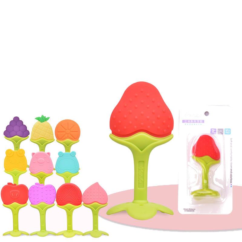 1Pc Fruit Silica Gel Baby Molar Baton Teethers