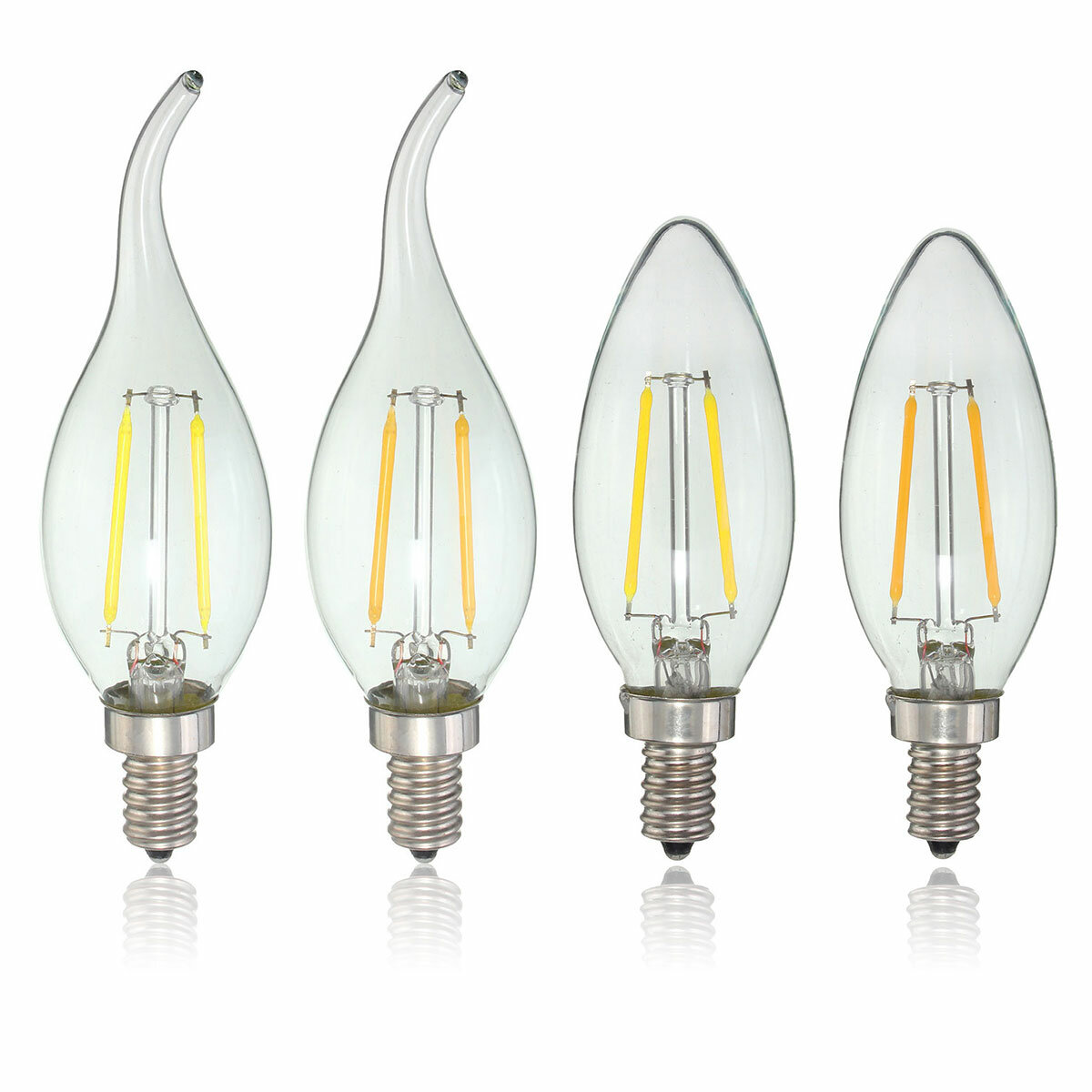 E12 2w Cob Edison Filament Bulb Led Candle Light Lamp Ac110v