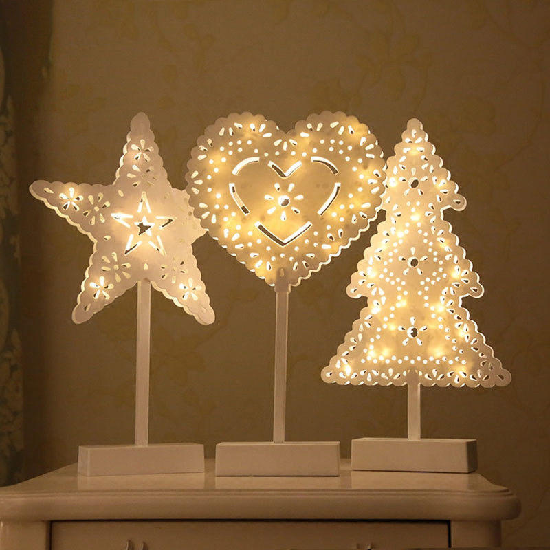 Christmas LED Wooden Table Mini Night Light Desk Lamp Wedding Bedroom Christmas Decor Gifts COD