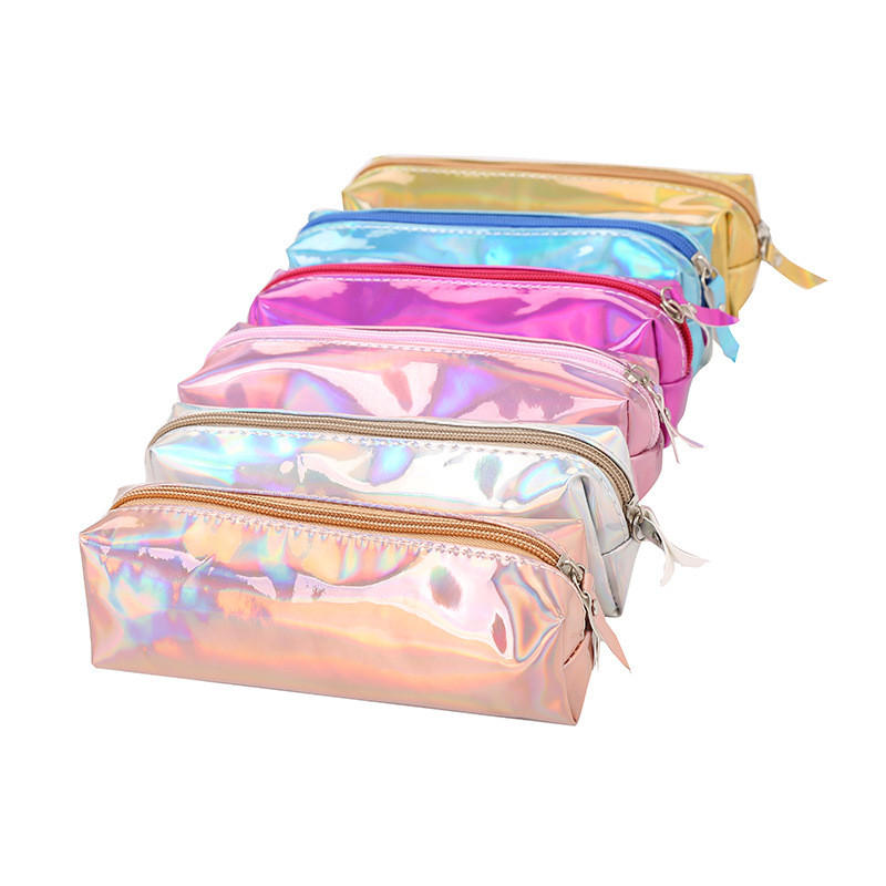 Holographic Stationery Pen Pencil Bag Larger Capacity Case Zip Makeup Cosmetic