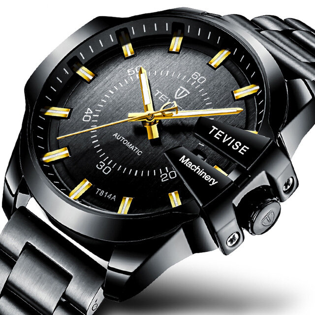 TEVISE T814 Luminous Display Business Style Men Watch Full Steel Automatic Mechanical Watch