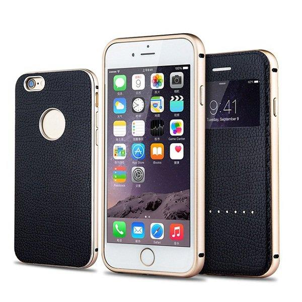 3 in 1 Case With Metal Frame Cowhide Protector Cover For iPhone 6 plus & 6s Plus