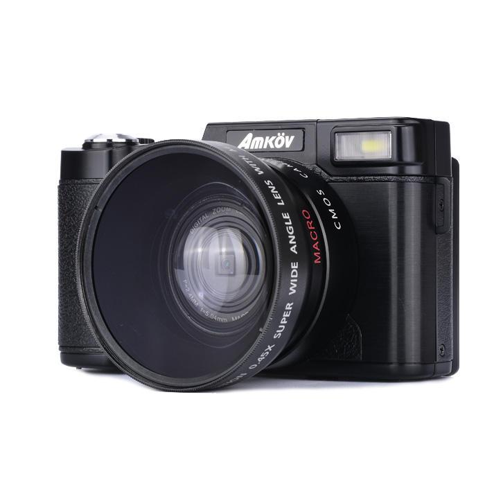 Amkov CDR2 24MP 1080P 4X Dijital Zoom Kamera ile 3 İnç Döndürülebilir TFT Ekran 52mm Geniş Açı Lens