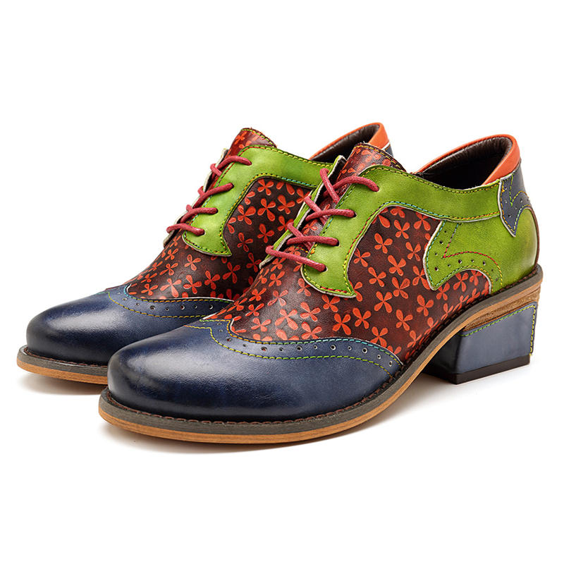 SOCOFY Handmade Stitching Lace Up Genuine Leather Flats Shoes