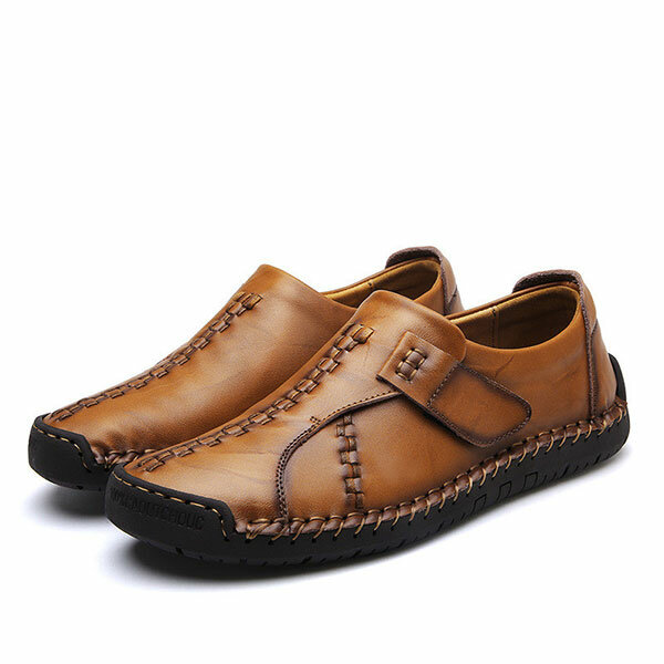 Menico Men Soft Sole Hand Stitching Genuine Leather Flat Oxfords Shoes