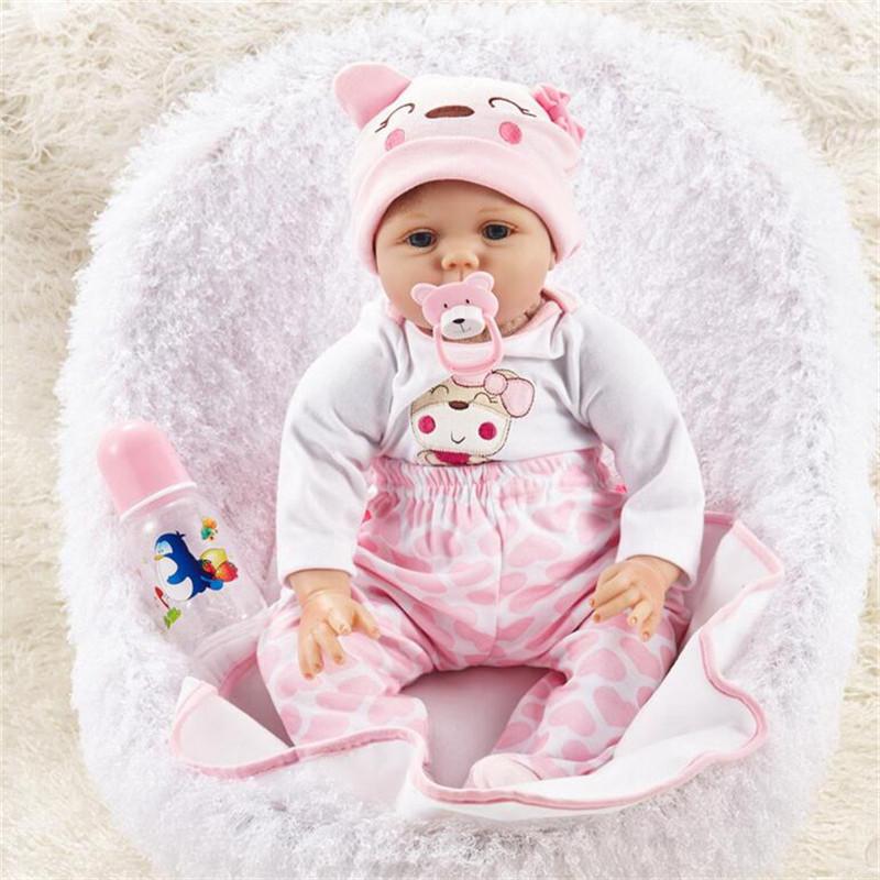 "NPK DOLL 55cm Soft Silicone Doll Reborn Baby 22"" Toy For Girls Newborn Girl Baby Birthday Gift"