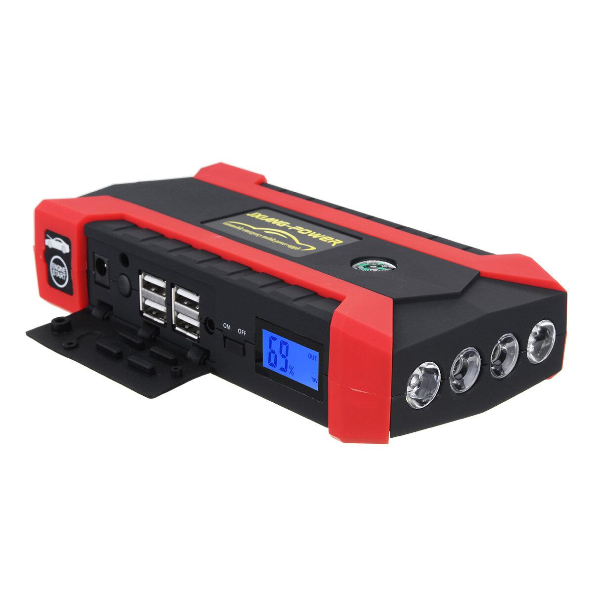 16000mAh 12 वी कार जंप स्टार्टर बैटरी बूस्टर पैक चार्जर पावर बैंक एलईडी टॉर्च 4 यूएसबी पोर्ट के साथ