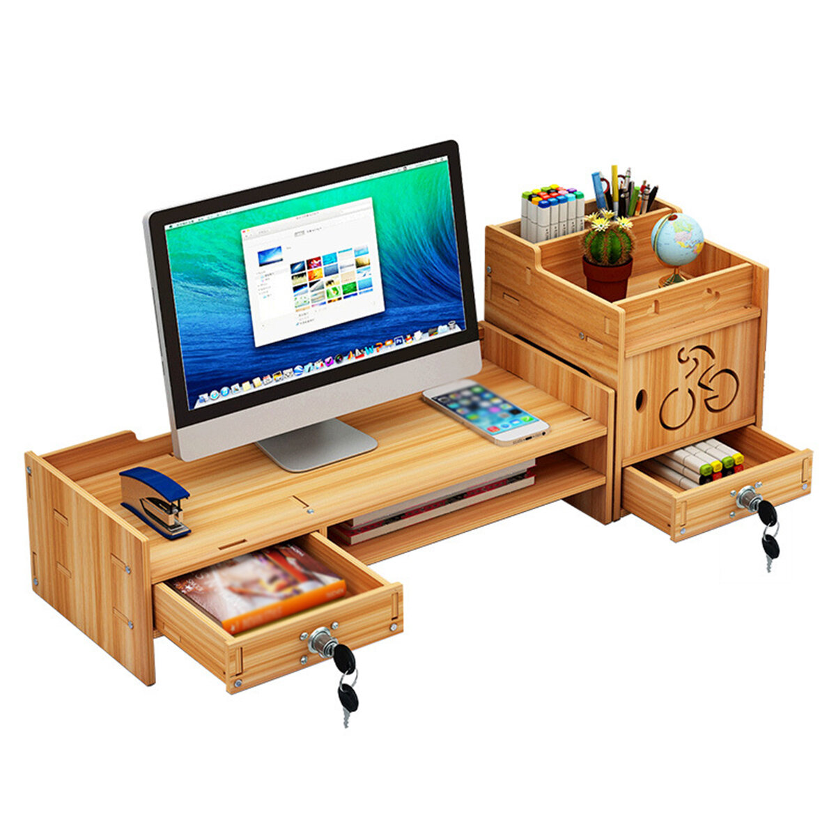 Picture of: Wood Monitor Stand Desktop Computer Riser Led Lcd Monitor Support Holder File Storage Drawer Rack With Without Lock Sale Banggood Com
