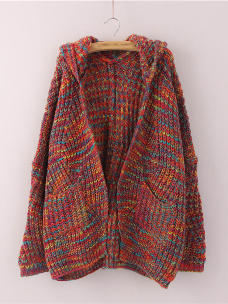 Women Hooded Multicolor Batwing Sleeve Open Front Knit Cardigans