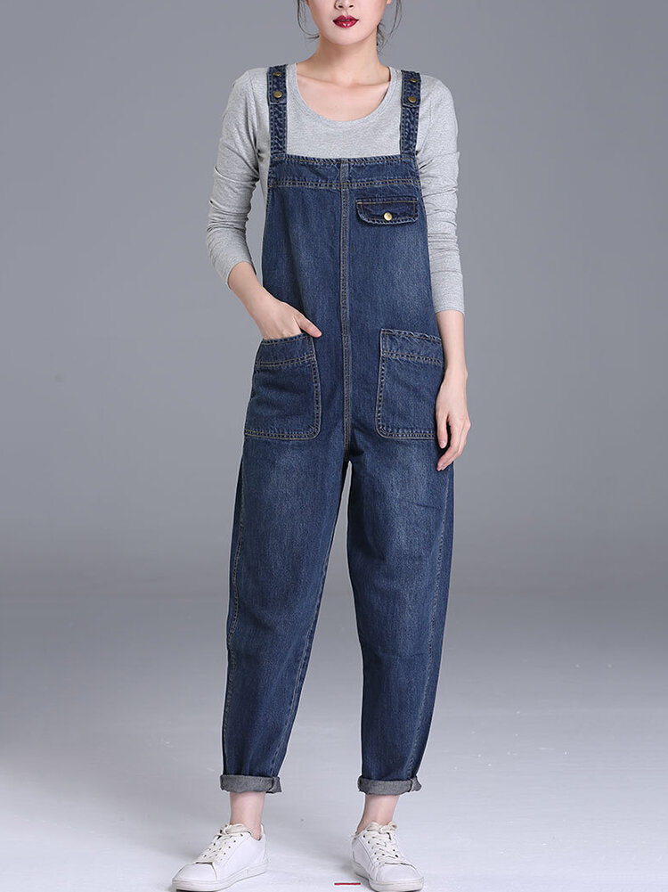 S-6XL Casual Women Denim Pockets Jumpsuit Playsuit