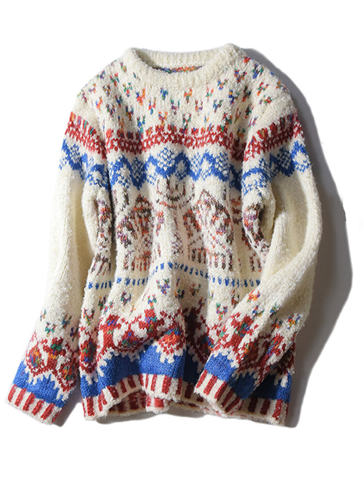 ad426b1be771a5 Vintage Women O-Neck Long Sleeve Jacquard Christmas Sweater - Off-white One  Size COD