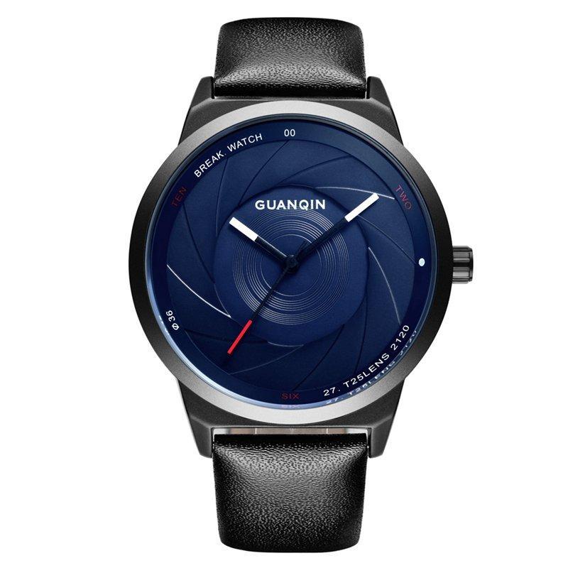 גואנקין GS19074 גברים שעונים יוקרה אופנה עור יצירתי רצועת זכר Quatz שעון היד